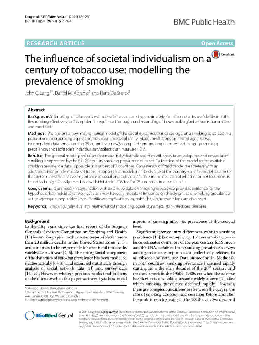 Lang Abrams and De Sterck - The influence of societal individualism on a century of tobacco use - BMC Public Health 15, 1280 (2015)
