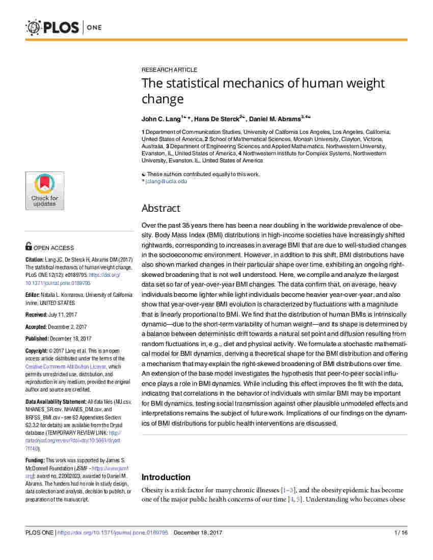 Lang De Sterck and Abrams - The statistical mechanics of human weight change - PLOS ONE 12, 0189795 (2017)