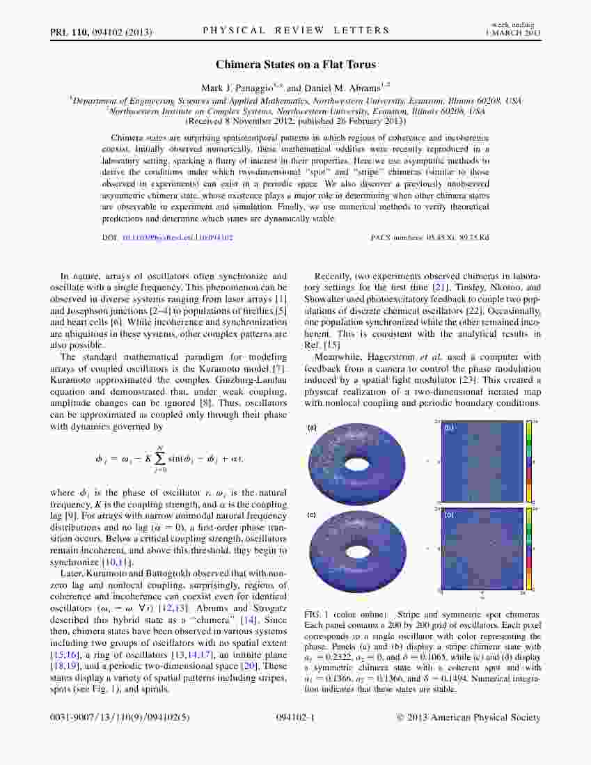 Panaggio and Abrams - Chimera states on a flat torus - PRL 110, 094102 (2013)