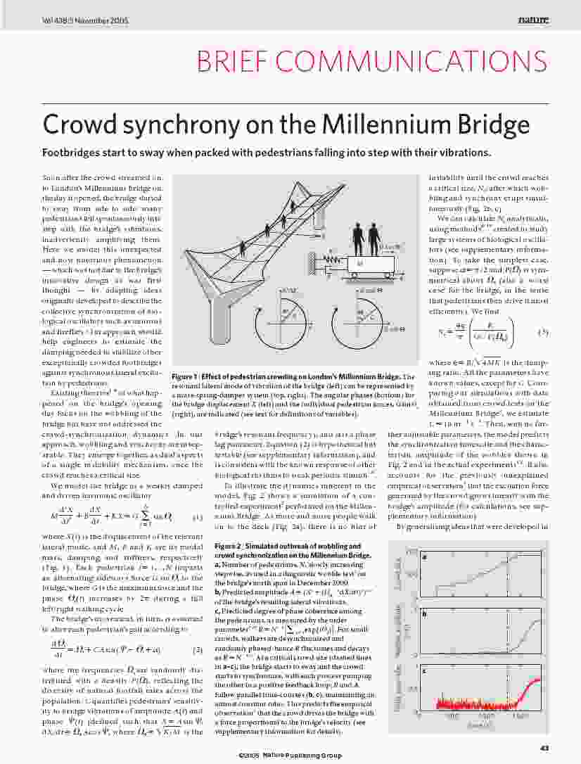 Strogatz Abrams McRobie Eckhardt Ott - Crowd synchrony on the Millennium Bridge - Nature 2005